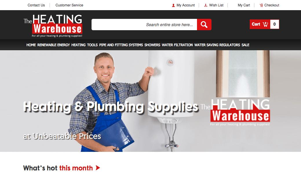 Website Design The Heating Warehouse